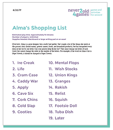 Alma's Shopping List
